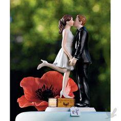 destination wedding cake topper - for the travel bug in me :). #wedding #bridal #cake #topper