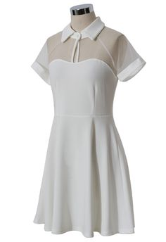 Mesh Peak Collar #Skater #Dress in #White – Check the website to see it from different angles and on a model → #Retro, #Indie and #Unique #Fashion