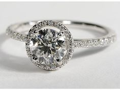 $1270 band - Floating Halo Diamond Engagement Ring in 14k White Gold (1/4 ct. tw.)