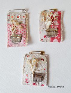 hens teeth : vintage patchwork thimble vase brooches / pins