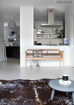 wooden benches, interior, idea, living rooms, decor inspir, dine room, cowhide rugs, open kitchens, amsterdamsouthsid sloterkad