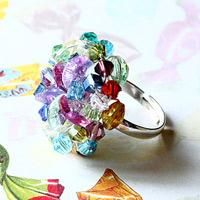 DIY Colorful Beaded Cluster Ring