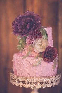 purple wedding cake, photo by Kivalo Photography http://ruffledblog.com/1st-portland-notwedding #weddingcake #cakes