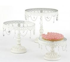 Juliet Cake Stand three white, cupcake stands, cake idea, cupcak stand, white iron, vintage cakes, juliet cake, parti, glass cake