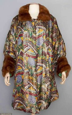 Printed lamé opera coat with brown mink fur collar and cuffs, c. 1920s.