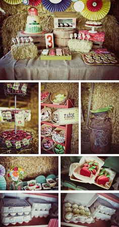 barn party .... Very cute ideas. But I think putting deviled eggs in egg cartons would be adorable (they would need to be cut horizontally instead of vertically).