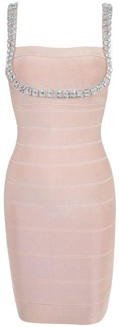 Clothing : Bandage Dresses : 'Kendall' Nude Pink  Crystal Bandage Dress