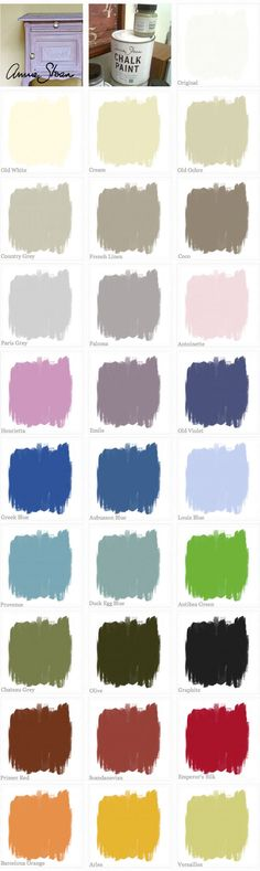 """CHALK PAINT :: Annie Sloan Chalk Paint Color Swatches (missing Napoleonic Blue...a dark blue).  I took a great class in using these paints at """"Suite Pieces"""" with shops in Huntington and Brooklyn, NY."""
