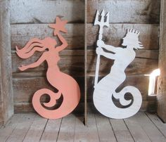 Mermaid and Neptune sign, I would love this in our bathroom, like on our seperate toilet rooms in my dream bathroom!