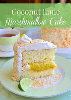 Coconut Lime Marshmallow Cake - a fantastic combination of flavors and textures including a light lime sponge cake, a tangy lime curd, fluffy marshmallow frosting and a generous coating of toasted coconut.