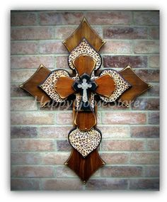 XLarge Wall CROSS  4 layers  Stain & Leopard by happygoose