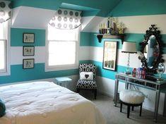 girl teen room decor, teen girl rooms, striped walls, guest rooms, room design, girls bedroom ideas turquoise, accent walls, teen girls, beach rooms