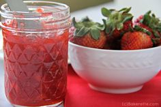 Intimidated by Canning? Try this quick and easy Strawberry Freezer Jam | Bakerette.com
