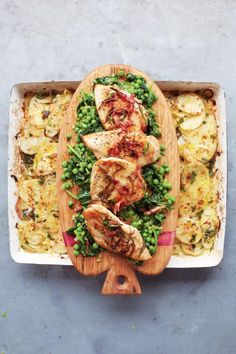 Jamie Oliver golden chicken, braised greens & potato gratin