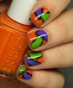 LOVIN this Patchwork Halloween Mani!!!! ღ❤ღ http://www.thenailasaurus.com/2013/10/patchwork-halloween-nail-art.html
