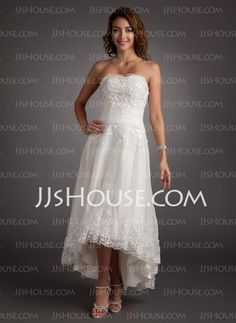 A-Line/Princess Sweetheart Asymmetrical Satin  Tulle Wedding Dresses With Lace  Beadwork (002011546)
