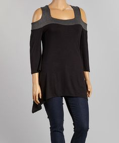 Love this Black & Charcoal Cutout Tunic - Plus on #zulily! #zulilyfinds