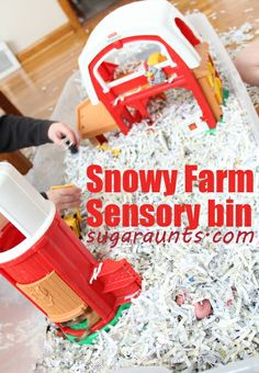Snowy Farm Sensory Bin | By Sugar Aunts