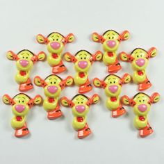 Lot 10pcs Winnie's Friend Tigger Resin Cabochons Flatbacks for Scrapbooking Girl Hair Bow Frame Card Making Crafts Embellishments DIY. $5.00, via Etsy.