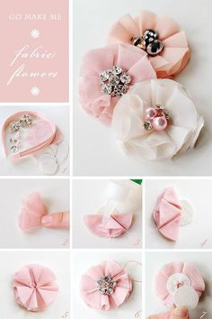 diy clothes | DIY clothes by kenaash  So pretty! I am definitely going to try this out! diy headband, craft, diy hair, flower headbands, fabric flowers, hair accessori, flower tutorial, hair bow, little flowers