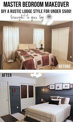 Master Bedroom Makeover under $500!!. Rustic Bedroom. DIY Ideas.  Knock It Off TV show- East Coast Creative Blog!