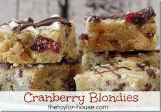 Cranberry Blondies Recipe
