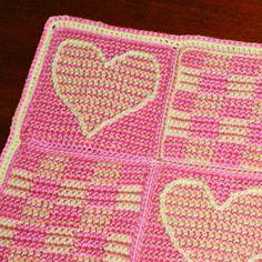 3d illusion afghan block pattern   Crochet Heart Square