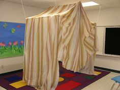 sunday school, fabric tent, class creation, bible stories, schools, ceilings, ropes, pvc pipes, bibl class