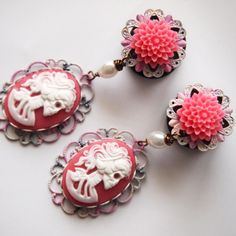 Pink Tie Dye Skeletina 316L Steel Dangle Plugs   by Glamsquared, 32.00