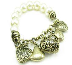 Estilo dulce en forma de corazón de la perla colgante retro adornado Pulsera de la Mujer Precio: 5,50€ (Sin gastos de envío) Envio: 15-25 dias