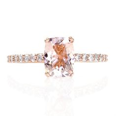 Rose Gold Cushion Morganite Ring