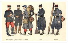 WWI French Uniforms. The french wore these blue and red uniforms for glory not attack.