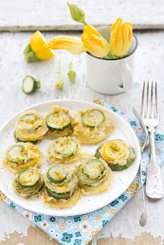 Delightful little towers of Fried Zucchini. #cooking #food #beautiful #vegetables #zucchini #Italian