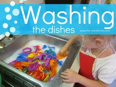Washing The Dishes (Preschool Activity)    www.the-red-kitchen.com