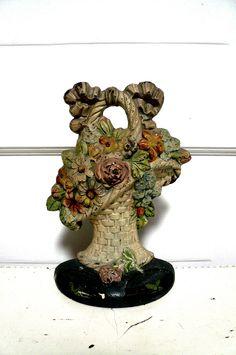 Antique Cast Iron Doorstop Flower Basket