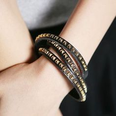 Leather Wrapped Bracelet, SW252 Black, White or Brown
