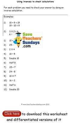 Problem solving, Inverses, Sequences and Multiples worksheets on Pint ...