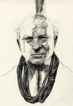 Yvon Chouinard Portrait by Rupert Smissen yvon chouinard, rupert smissen, illustrations, illustart inspir, illustr art, art pencil, illustration art, pencil drawings, portrait
