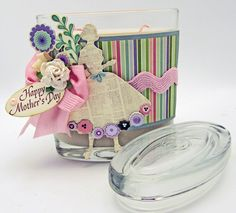 Embellished Candle Jar!  Created by Barb for The Stamp Simply Ribbon Store.