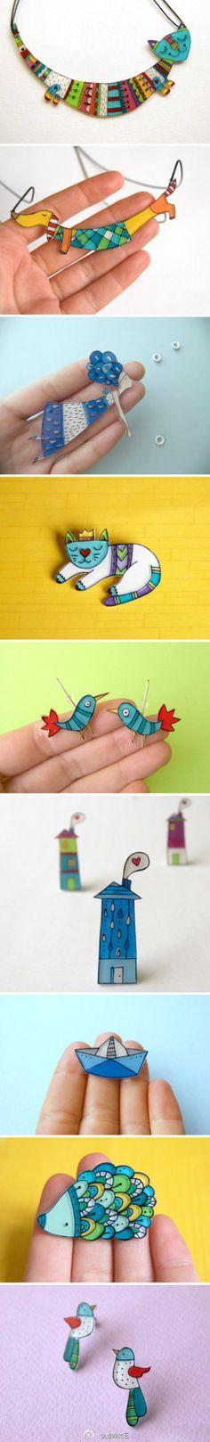 Shrinky Dinks :) idea, craft, shrink plastic, shrink art, shrinki dink, jewelri, design, construction paper, handmade jewelry