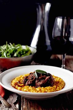 Red Wine Braised Venison over Pumpkin Risotto