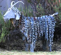 sculpture made from recycled roof tin
