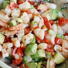 Zesty Lime Shrimp And Avocado Salad  1 lb jumbo cooked shrimp, peeled and deveined, chopped 1 medium tomato, diced 1 hass avocado, diced 1 jalapeno, seeds removed, diced fine 1/4 cup chopped red onion 2 limes, juice of 1 tsp olive oil 1 tbsp chopped cilantro salt and fresh pepper to taste