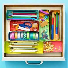 junk drawer organizing, camper, craft, box drawer, paint cereal, drawer caddi, cereal boxes, drawers, cereals