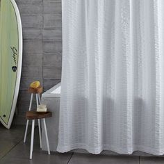 Seersucker Shower Curtain | west elm  http://www.westelm.com/products/seersucker-shower-curtain-b958/?pkey=cshower-curtains