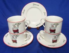 Emerald Italian Italy Chef Cook 3 Saucers 4 Cups Pasta | eBay