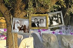 Having an outdoor wedding or reception? Incorporate ancestors' wedding photos as décor. Just hang your pictures in vintage frames from tree branches. Make these special prints at a KODAK Picture Kiosk. #wedding
