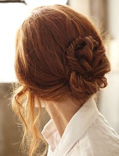 french braids, red hair, shades of red, hairstyle ideas, messy buns, redhead, fishtail braids, knot, braid styles