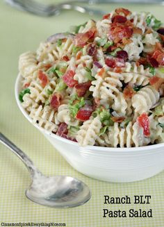 Ranch BLT Salad  8 ounces radiatore pasta (or another type of medium-sized pasta)   1 bottle Hidden Valley® Original Ranch® Salad Dressing   1 + 1/2 cup diced tomatoes, seeds removed   1 cup cubed Swiss cheese   1/2 cup thinly sliced red onions   1 pound bacon, cooked crispy and chopped   2 cups finely chopped romaine or iceberg lettuce   coarse salt and fresh black pepper