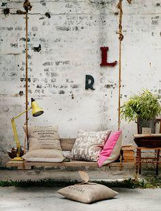 swing bench, decor, outdoor, courtyard gardens, veranda